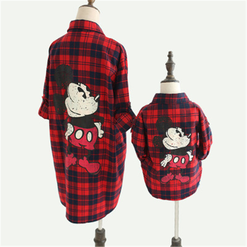 Mickey Family Matching Clothes Cartoon Plaid Shirt Family Clothing For Mom & Girls Mickey