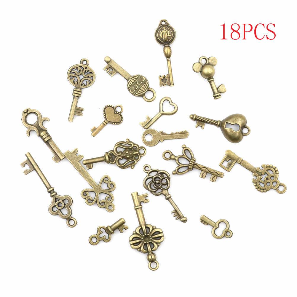 18 unids/lote antiguo Vintage de bronce adornado lote de llaves de esqueleto Retro DIY artesanía regalo COLLAR COLGANTE de corazón Decoración