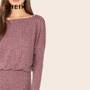 Image 2 - Женское трикотажное платье блузон SHEIN, Бордовое платье в рубчик с рукавами «летучая мышь», элегантное осеннее мини платье с вырезом лодочкой и длинным рукавом