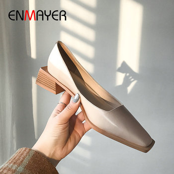 ENMAYER 2020 Slip-On Genuine Leather Square Toe Women Shoes High Heel Basic Party Spring/Autumn Shallow Wedding Shoes 34-39