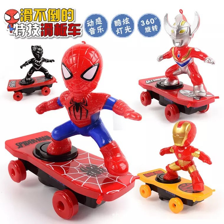 Children Cartoon Toys Spider-Man Douyin Celebrity Style Stunt Scooter Music Light Electric Universal Rotating Roll