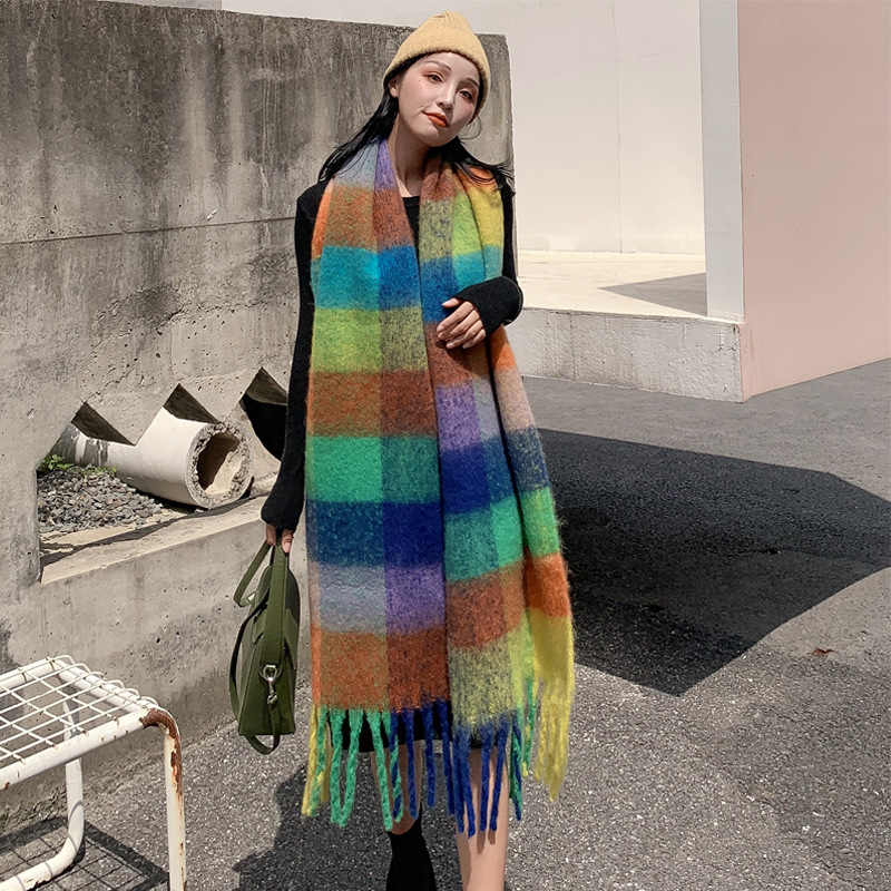 New Letter Imitation Cashmere Tassel Scarf Female Color Plaid Warm Students' Autumn And Winter Bib Men's Shawl
