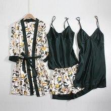4PCS 꽃 웨딩 미니 신부 들러리 가운 새틴 여름 새 섹시한 여성 잠옷 캐주얼 잠옷 실키 홈 드레싱 가운