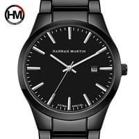 Hannah Martin Men Watch Top Brand Luxury Men's Watch Male Watches Auto Date Wristwatches Waterproof Full Stainless Steel Clock