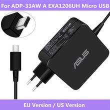 Para ADP 33AW UM EXA1206UH 19V 1.75A 33W AC de Entrada Micro USB Carregador de Energia Do Laptop Original Para ASUS X205T x205TA Carregador Fonte