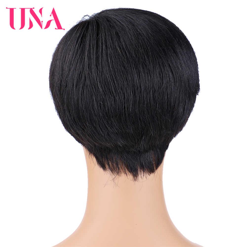 Sebuah Pendek Lurus Rambut Manusia Wig untuk Wanita Tidak Remy Brazilian Rambut Manusia Mesin Wig 7A Tengah Rasio 120% kepadatan 75G