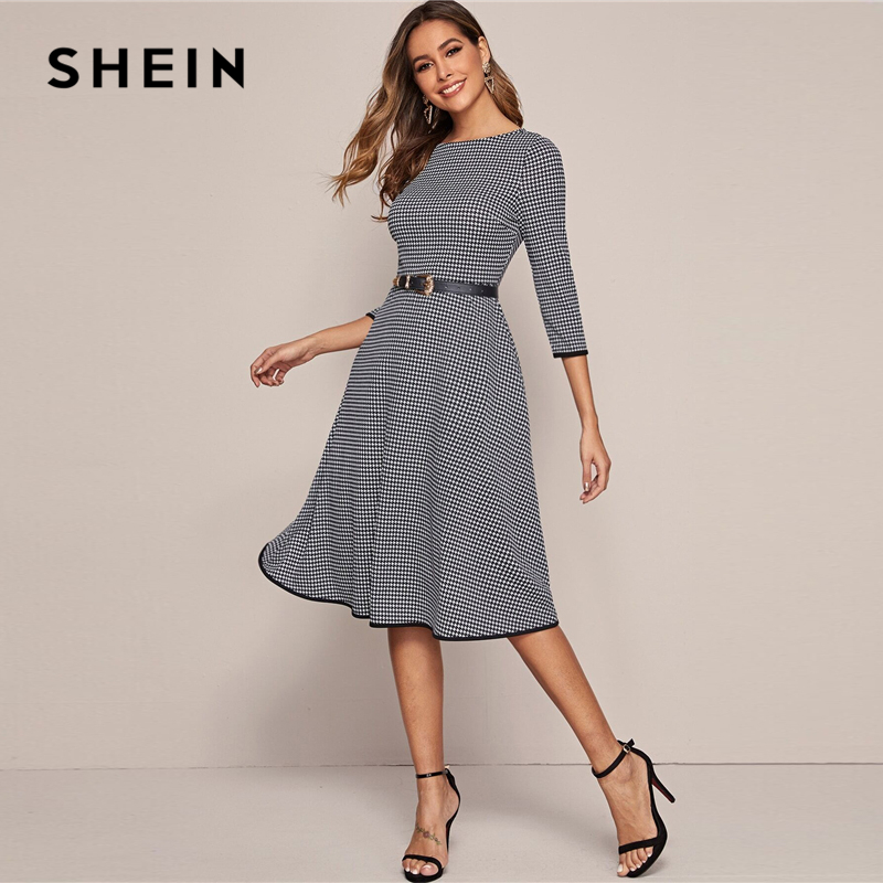 SHEIN Black And White Houndstooth Elegant Dress Without Belt Women 2020 Spring 3/4 Length Sleeve Ladies A Line Midi Dresses 3