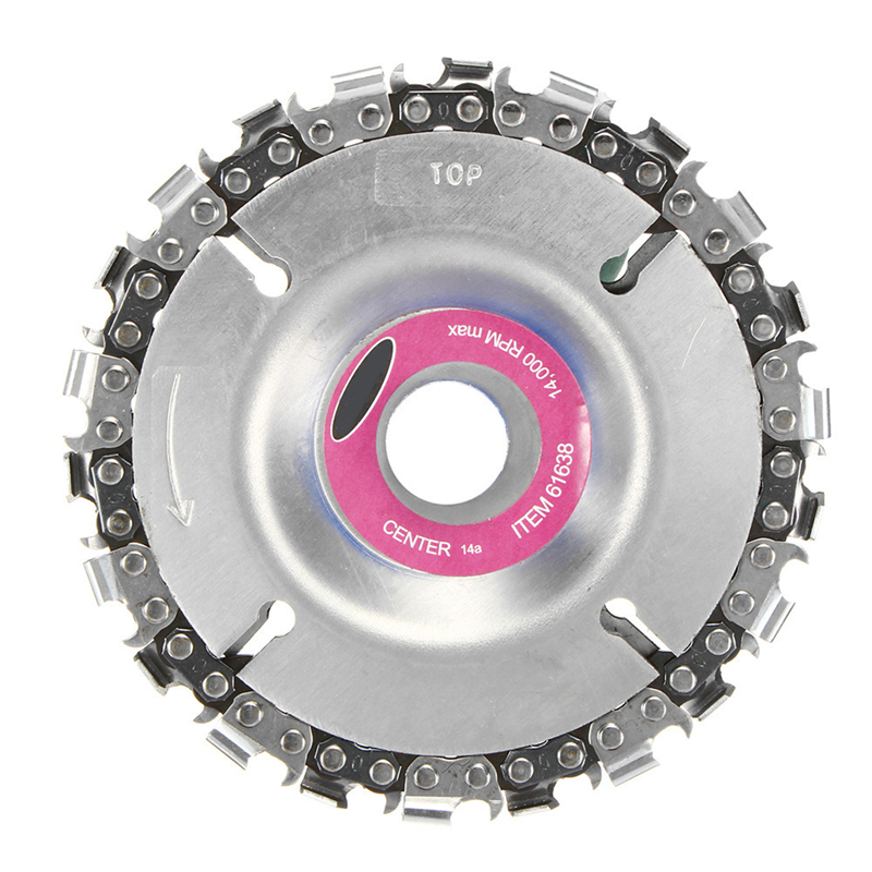 4 Inch Grinder Chain Disc 22mm Arbor 22 Tooth Wood Carving Culpting Grinder Chain Disc For 115/125mm Angle Grinder