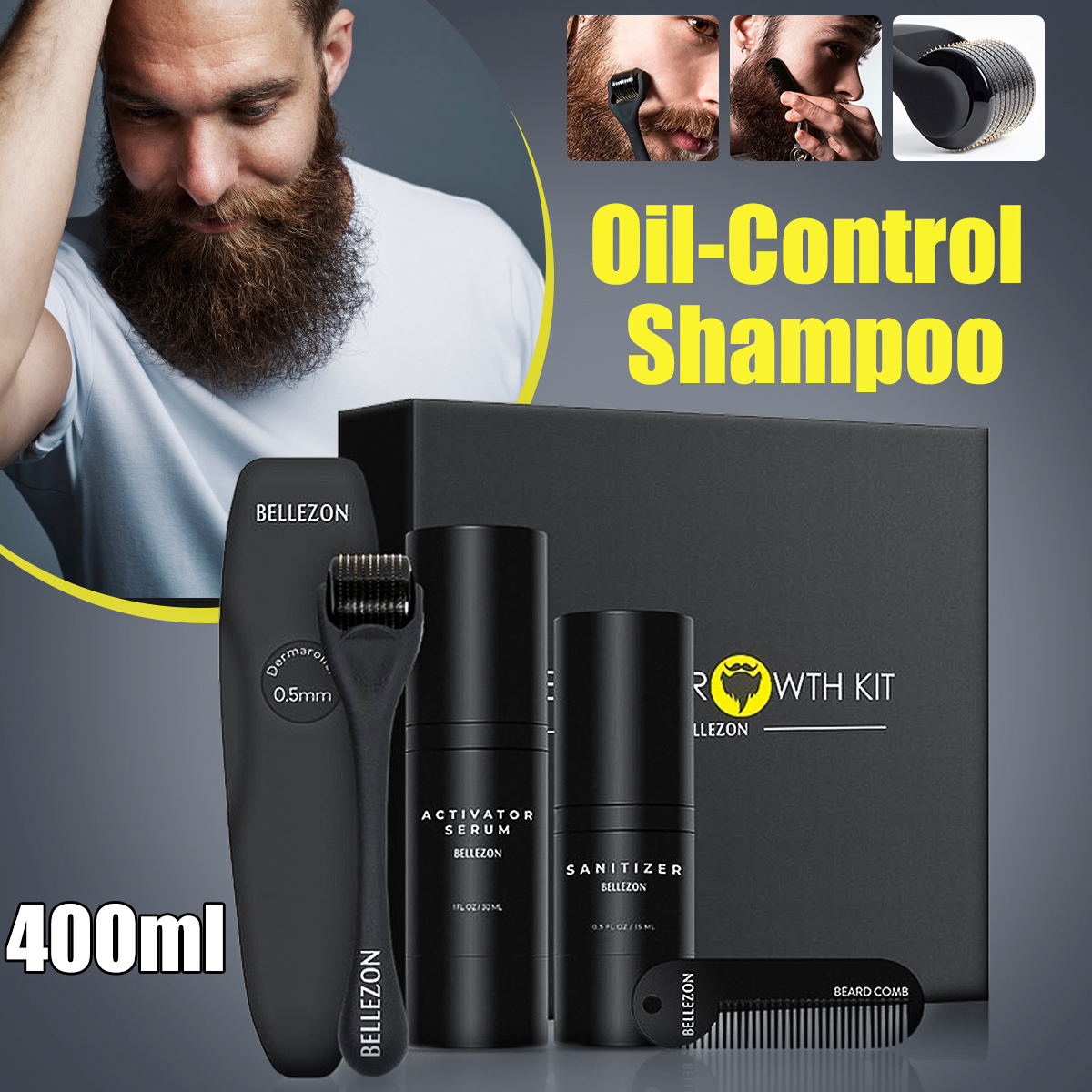 4 Pcs/set Men Beard Growth Kit Hair Growth Enhancer Thicker Oil Nourishing  Leave-in Conditioner Beard Grow Set With Comb