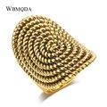 Вращающееся кольцо с узором из веревки, роскошные большие антикварные кольца золотого цвета для женщин, винтажные массивные индийские ювел...