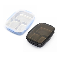 2 Pcs Lunch Box Stainless Steel Portable Picnic Office School Food Container with Compartments Microwavable Thermal Bento Box  B|런치 박스|   -
