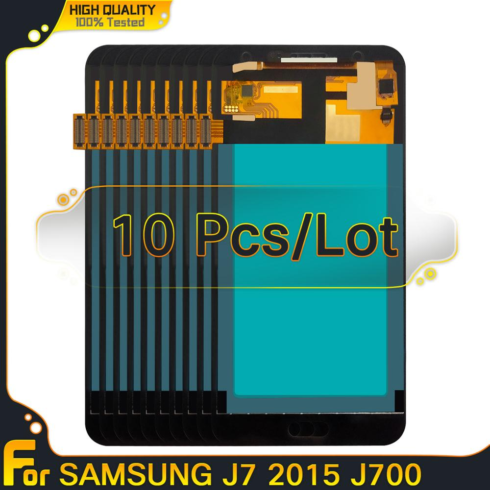 Copiar oled lcd 10 peças 10 peças para samsung galaxy j7 2015 j700 j700f j700h j700m display lcd de toque digitador da tela substituição