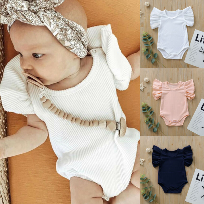 2019 Newborn Infant Baby Girl Solid Cotton Romper Flying Sleeve Ruffle Romper Jumpsuit Playsuit Clothes Outfit 0-18M