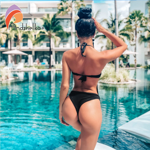 Image 3 - Andzheleka maiô sexy, babado, push up, peça única, feminino, malha sólida, maiô, moda praia, verão, 2020