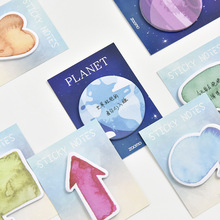 5/6pcs Mini dialog sticky memo note set Galaxy planet Message box stickers for diary book planner marker Office School F721
