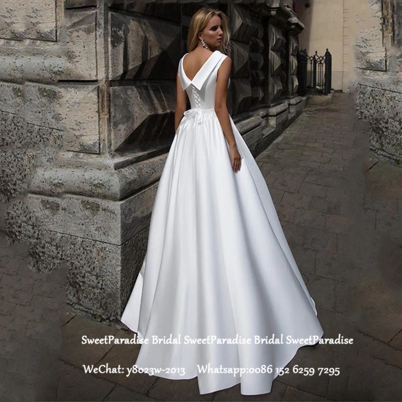 White Long Wedding Dress For Women Pleat A Line Lace Up Back Vestido De Noiva Bridal Dresses Formal