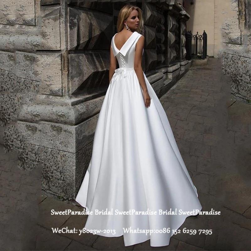 White Long Wedding Dress For Women Pleat A Line Lace Up Back Vestido De Noiva Bridal Dresses Formal
