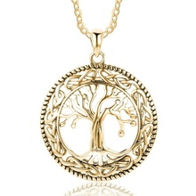 Vintage Tree Of Life Pendants and Necklace Women Celtic Knot Silver Jewelry for Mother Gift