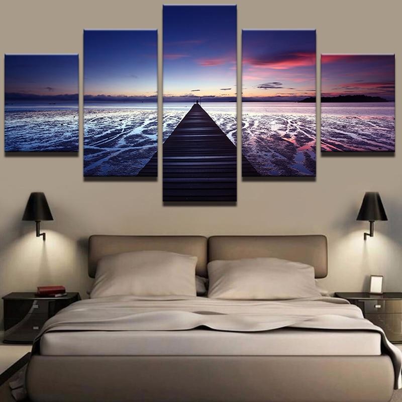 Wall Print Painting Modular Poster Canvas 5 Panel Bridge To Heaven Landscape Framework Art For Living Room Home Deco Artwork(China)