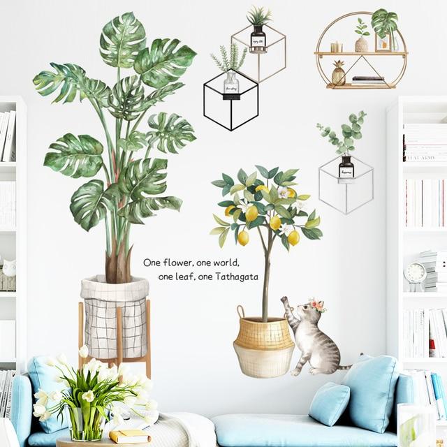 Фото зеленые растения наклейки на стену монстера горшечные листья цена