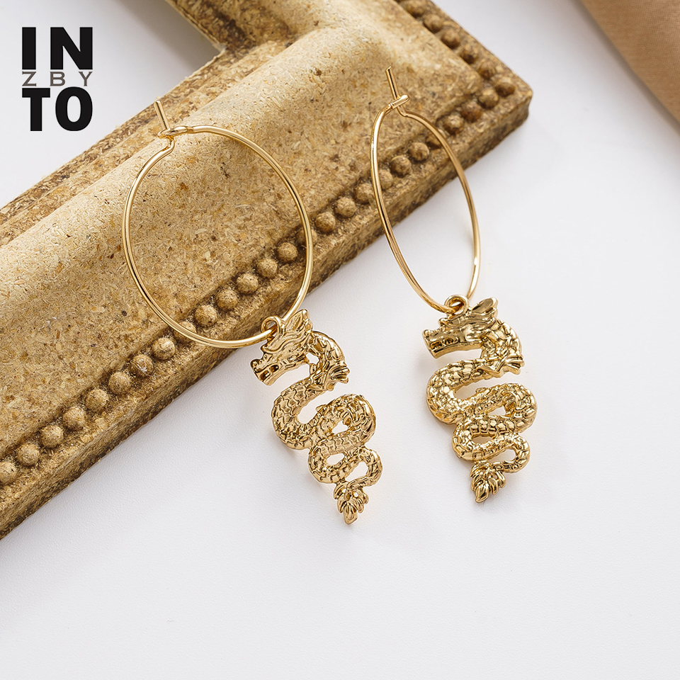 Into zby Retro Oriental Dragon Earring Dangle Hoop Gothic Fashion Jewelry Gold Color Earrings Drop for Women 2020 Exaggerated