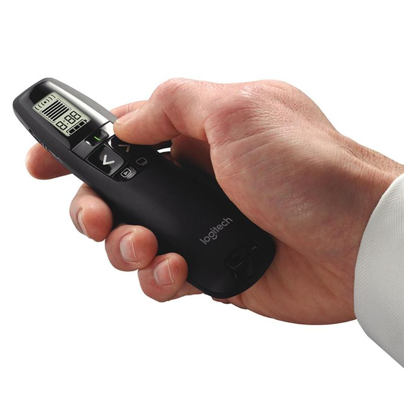 <font><b>R800</b></font> 2.4GHz Wireless Presenter with LCD Display Screen Radio Control Distance of 30m Laser Pointer for PPT Remote Control image