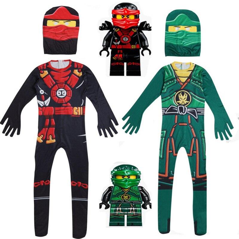 Ninja Costume Child Ninjago Party Costumes Boys Girls Halloween Fancy Dress Superhero Cosplay Ninja Suit Kids Clothes Set Gift