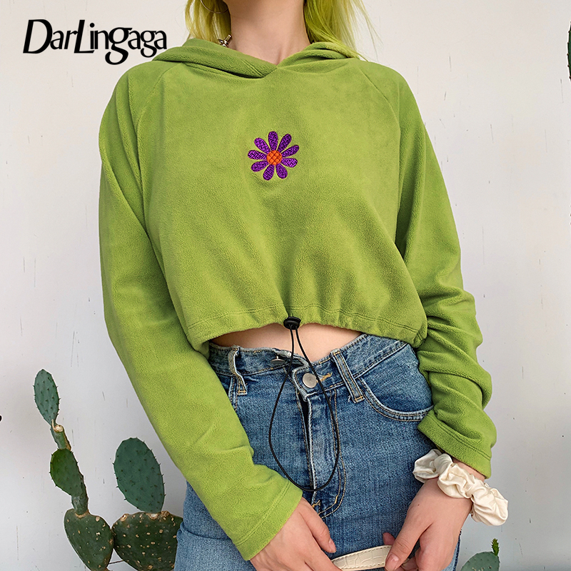 Darlingaga Casual Fleece Autumn Winter Hoodies Women Floral Embroidery Pullovers Harajuku Sweatshirt Drawstring Crop Top Hoodie