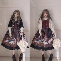 Autumn winter palace sweet lolita dress vintage vest printing victorian dress+cloak+shirt kawaii girl gothic lolita set loli cos