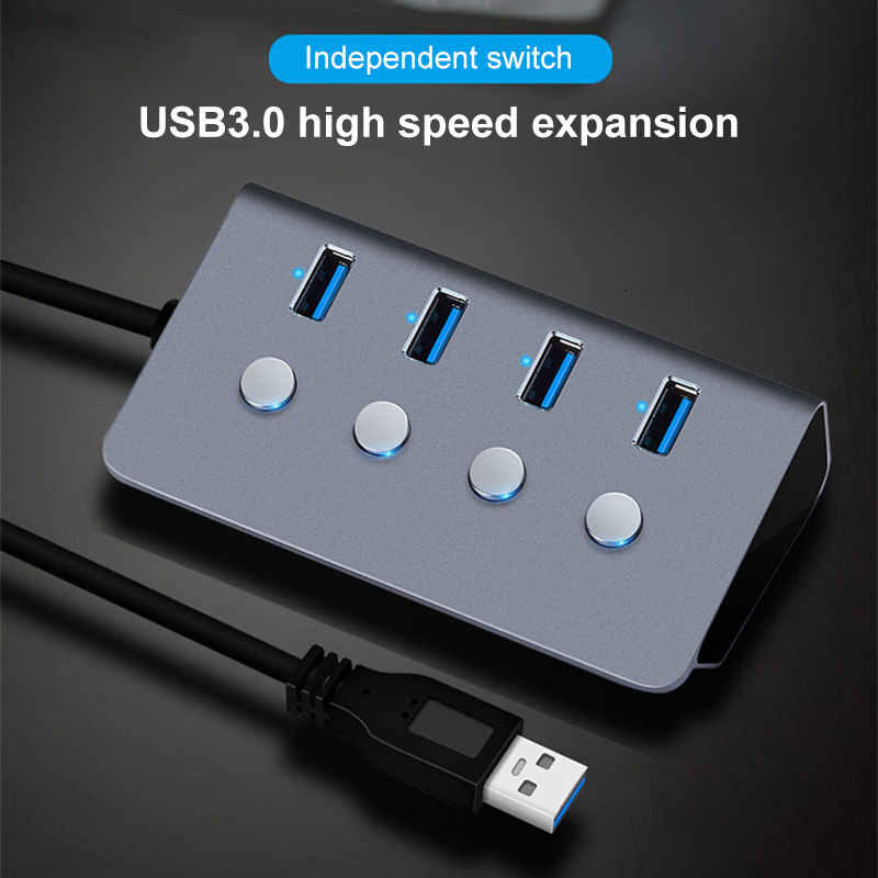 CHUYI <font><b>USB</b></font> 3.0 <font><b>Hub</b></font> <font><b>4</b></font> <font><b>Ports</b></font> With LED ON/OFF Switch <font><b>USB</b></font> C Splitter Adapter High Speed For PC Laptop image