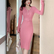 Женское трикотажное платье ljsxls однотонное с длинным рукавом