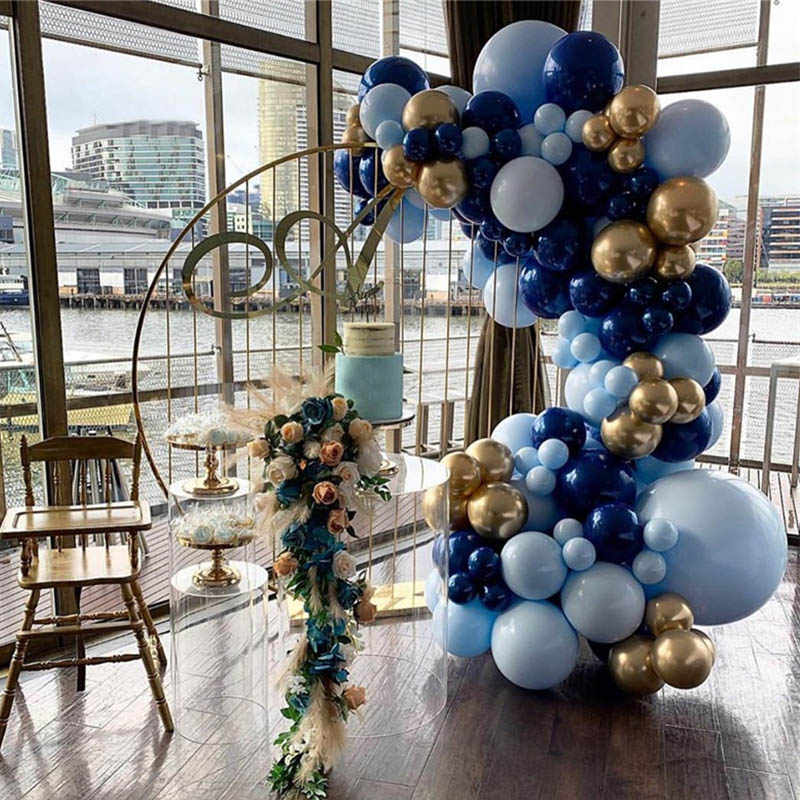 115pcs Big Macaron Blue Balloon Garland Arch Kit Night Blue Gold Baby 1st Happy Birthday Party Decoration Balloons Supplies 30