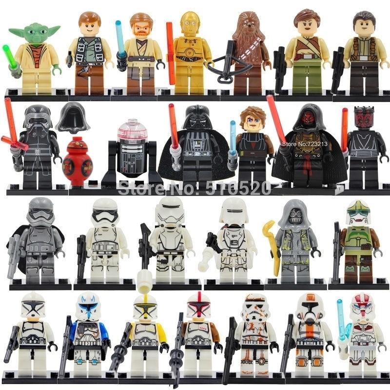 26pcs/lot Star Wars Figure Set Yoda Paploo Ahsoka Tano Obi-Wan Darth Vader Building Blocks Model Toys Legoing