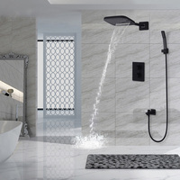 Wall Mounted Thermostatic Shower Waterfall Rain Shower Head & Hand Shower Set Bathroom Solid Brass Black Concealed Faucets