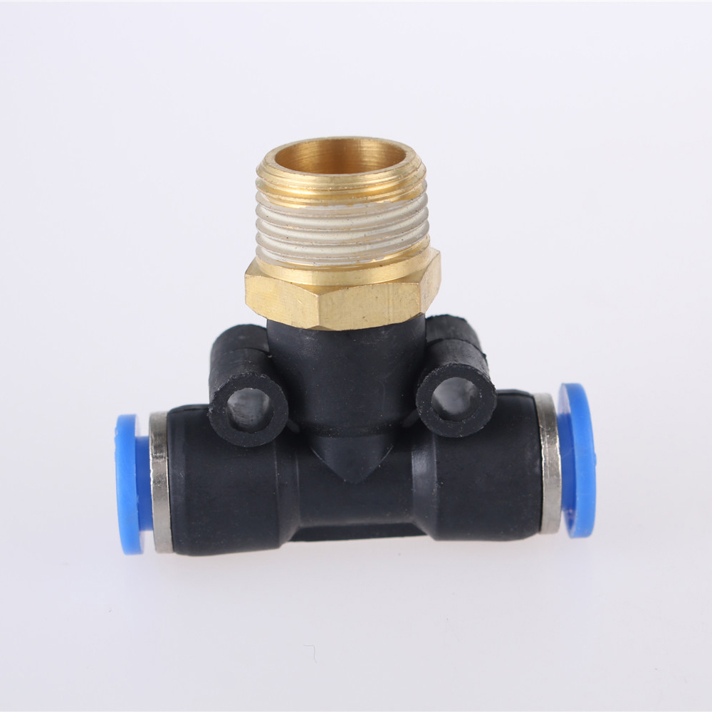 PB <font><b>Air</b></font> <font><b>Pneumatic</b></font> T Shape Tee Push In Fitting 4-16mm OD Hose Tube to M5 1/8