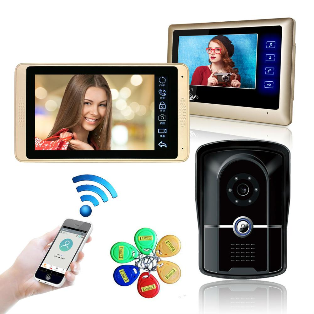 7 Inch Wired Wifi Video Doorbell with Monitor IP Video Door Phone Intercom System Wide Angle Touch Screen Record