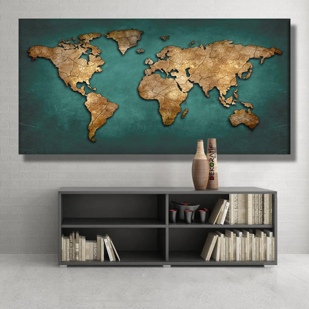 <font><b>120x60</b></font> CM World map Pringting Print On Canvas Paintings Wall Art Poster Pictures For living Room Home Decor image