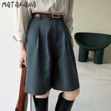 MATAKAWA Droit taille Haute pantalon femme Printemps Streetwear Femmes Genou Longueur Pantalon Décontracté Coupe Large Solide Cinq Points pantalon