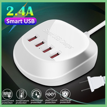 desktop smart cheaper USB Charger Adapter For iPhone X XR 7 for Xiaomi  S10 Plus Phone 4 Ports US Plug Desktop Charging Station orico odc 2a5u v1 smart charging desktop charger with 2 ac outlets and 5 usb ports for phones iphone 7 tablets and desktops