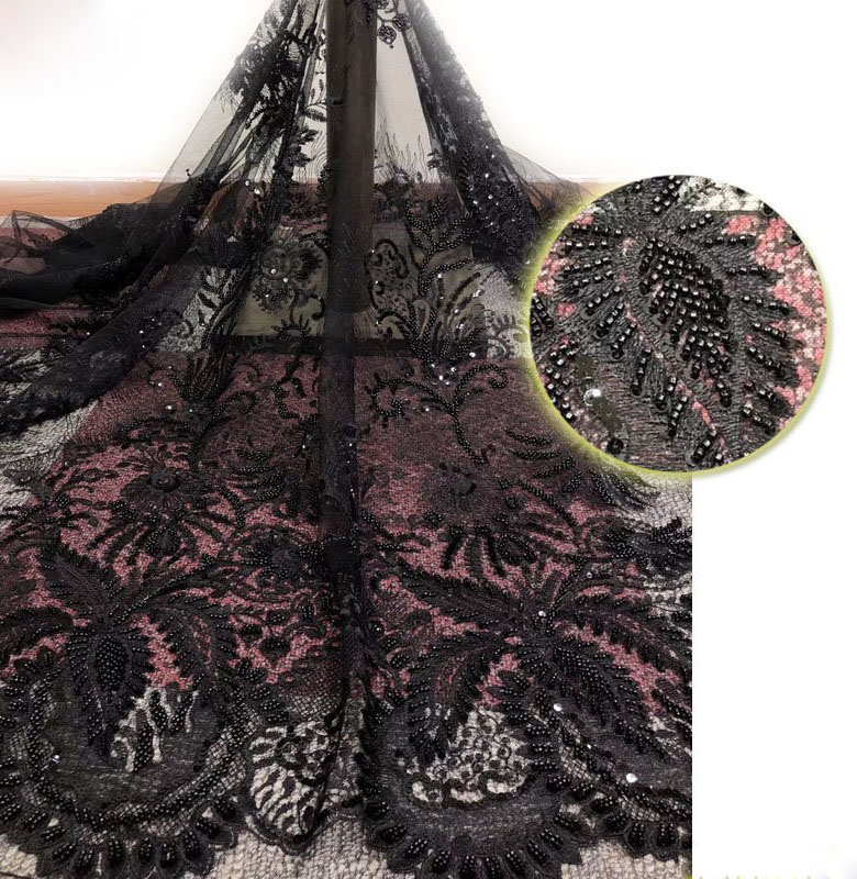 2020 New Fashion Sparkle With Bead Pattern Symmetrical Mesh Fabric Lace Black Sequin Fabric Heavy Industry Hand Made Black Lace