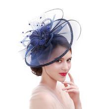 Güzellik Emily tüy düğün şapkalar akşam saç aksesuarları çelenk 2019 birçok renk Aveliable düğün şapka ve fascinators