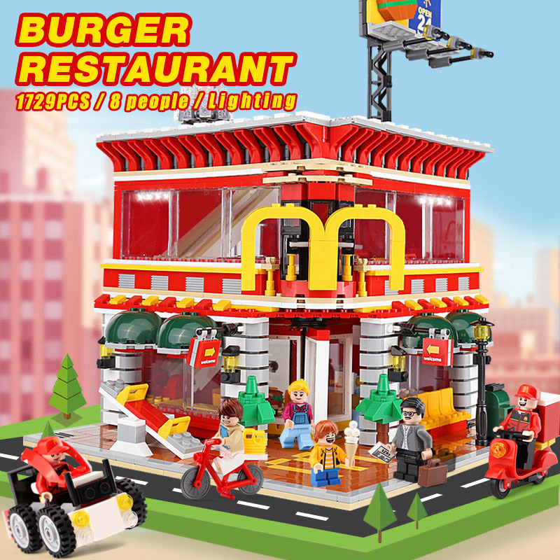 4 In 1 City Street View McDonaldss Restaurant House with LED Building Blocks Model Compatible with Lego Set Architecture 1