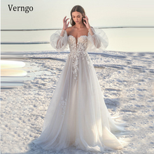 Wedding-Dress Puff-Sleeve Tulle Applique Silk Verngo Floral Sexy Beach A-Line Long