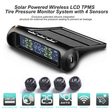 Smart Car TPMS Tyre Pressure Monitoring System Solar Power Digital LCD Display Auto Security Alarm Systems Tire Pressure Warning