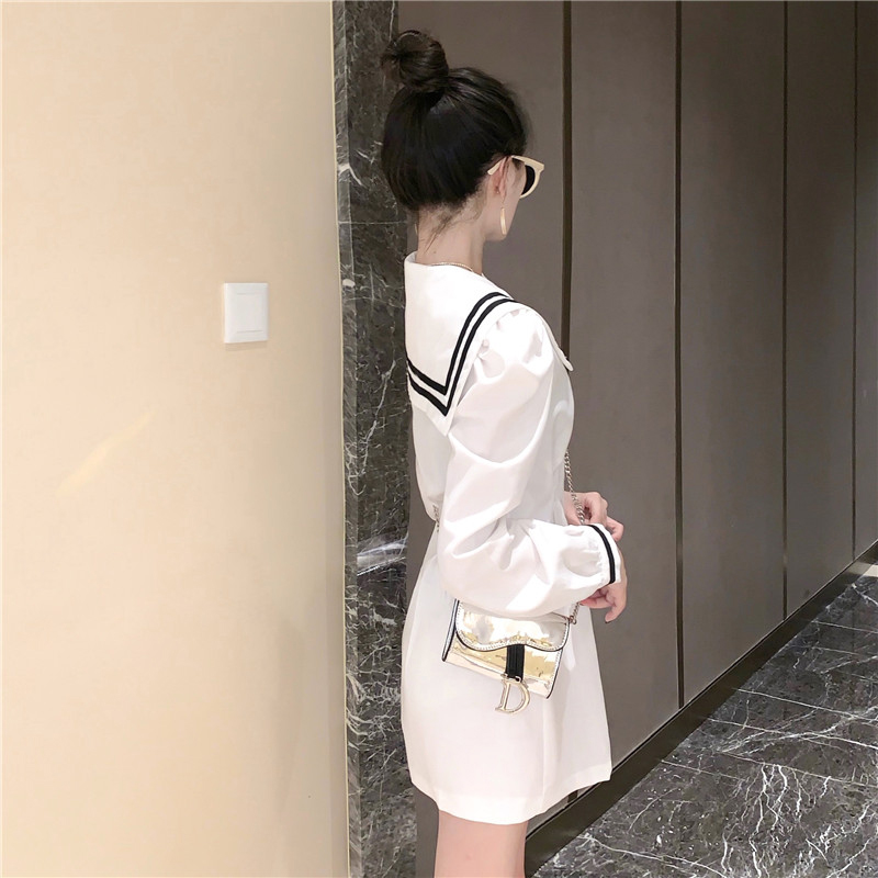 Kawaii Sweet Cute Lady Office Dress Korean Navy Lapel Slim Single-Breasted Fashion Dresses Women Summer Shirt Solid Color Dress 2