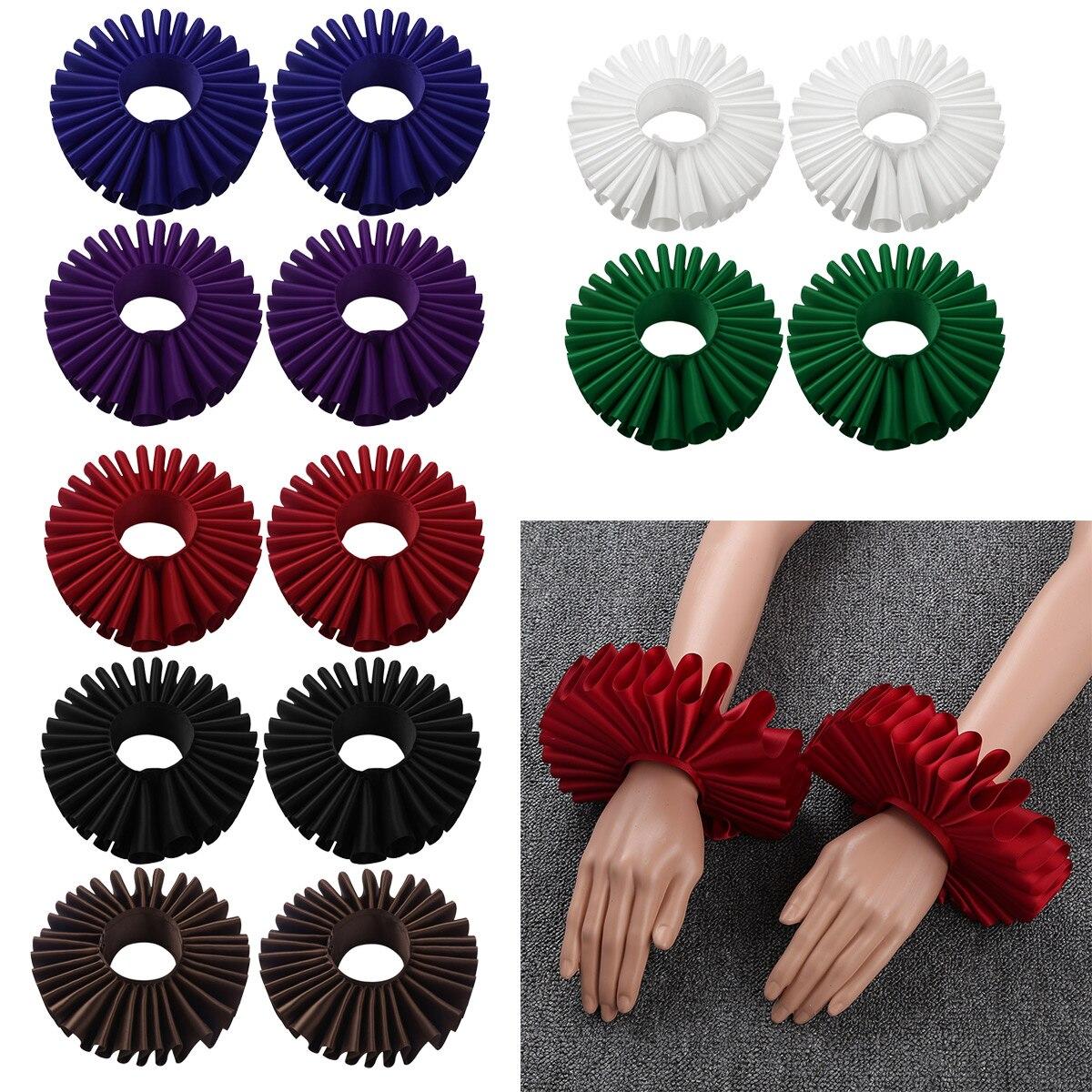 1 Pair Renaissance Elizabethan Ruffled Wrist Sleeves Cuffs Bracelet Victorian Costume Halloween Cosplay Accessories