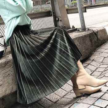 Long velvet Pleated Women's skirt Autumn Winter harajuku High Waist black skirts womens 2019 Silver sexy Casual Party maxi Skirt 4