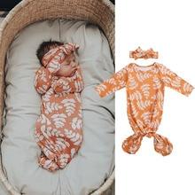 0-6M Newborn Baby Girls Boys Sleeping Bags Leaves Print Long Sleeve Adjustable Full Body Clothing