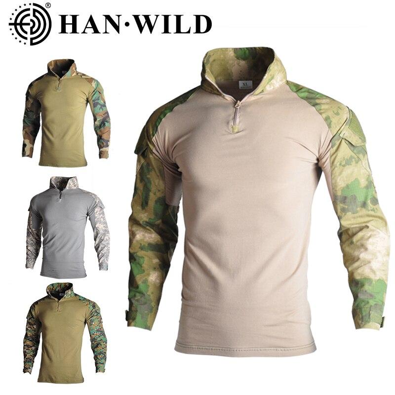 Askeri askeri tişört erkekler uzun kollu kamuflaj taktik gömlek av savaş Multicam Camo uzun kollu T Shirt dirsek pedleri