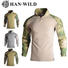 Esercito militare T Shirt Da Uomo A Maniche Lunghe Camouflage Camicia Tattico Caccia Da Combattimento Multicam Camo T Shirt A Manica Lunga con il Gomito pad